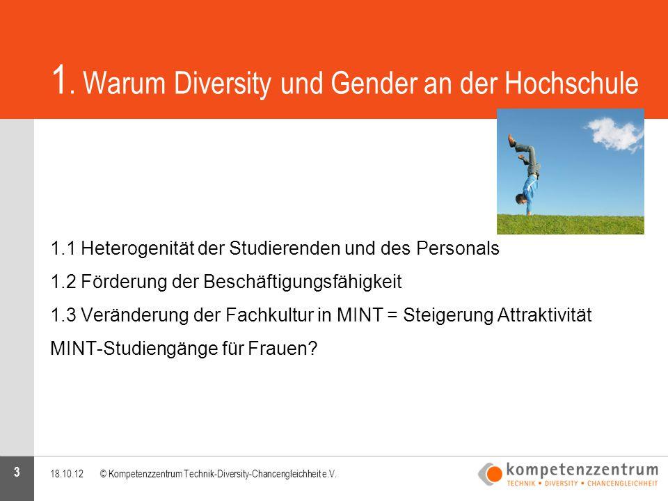 3 1. Warum Diversity und Gender an der Hochschule 1.1 Heterogenität der Studierenden und des Personals 1.2 Förderung der Beschäftigungsfähigkeit 1.3 V