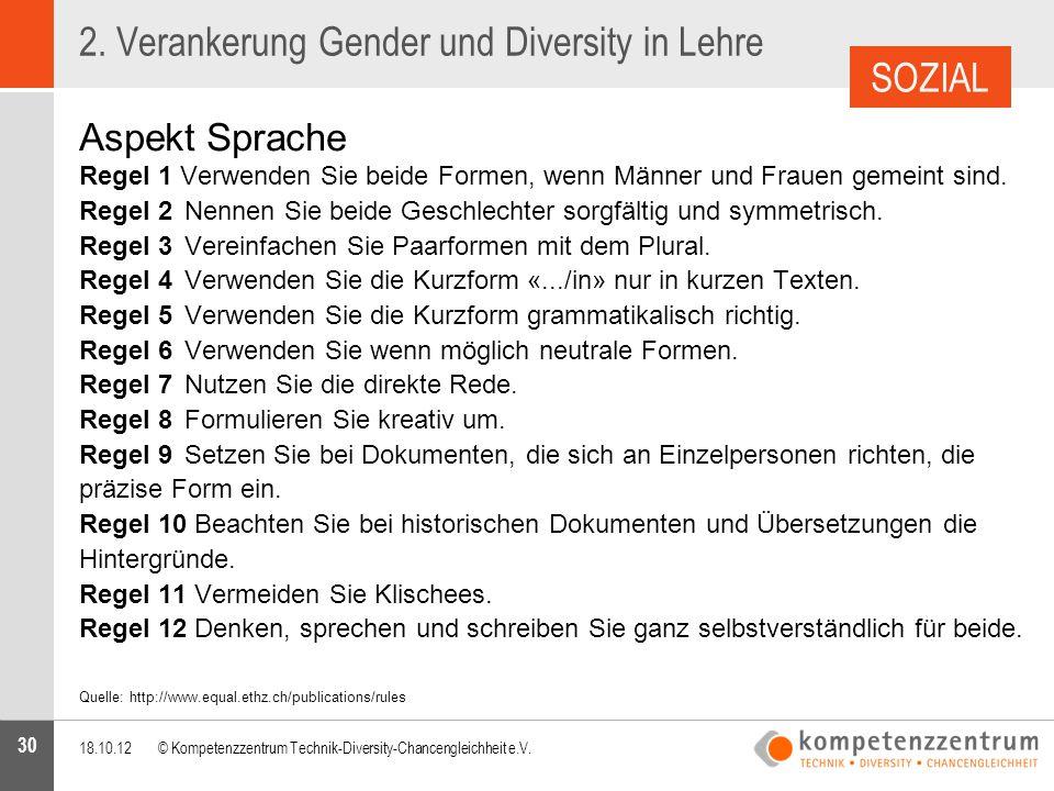 30 2. Verankerung Gender und Diversity in Lehre Aspekt Sprache Regel 1 Verwenden Sie beide Formen, wenn Männer und Frauen gemeint sind. Regel 2Nennen