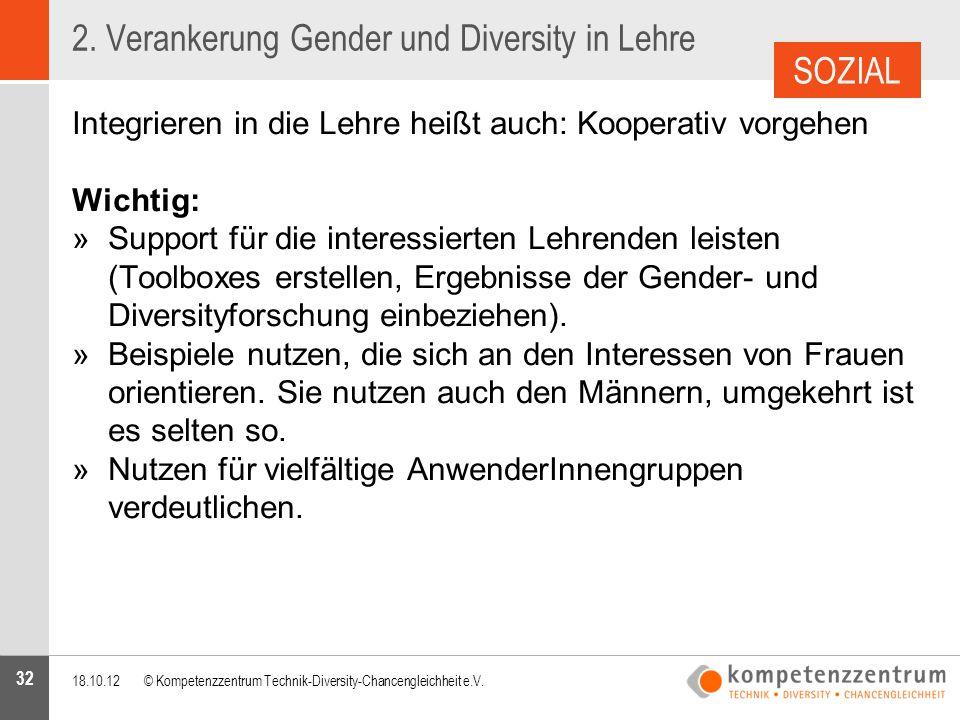 32 2. Verankerung Gender und Diversity in Lehre Integrieren in die Lehre heißt auch: Kooperativ vorgehen Wichtig: »Support für die interessierten Lehr