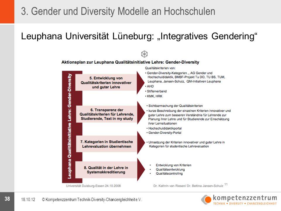 """38 3. Gender und Diversity Modelle an Hochschulen Leuphana Universität Lüneburg: """"Integratives Gendering"""" 18.10.12© Kompetenzzentrum Technik-Diversity"""