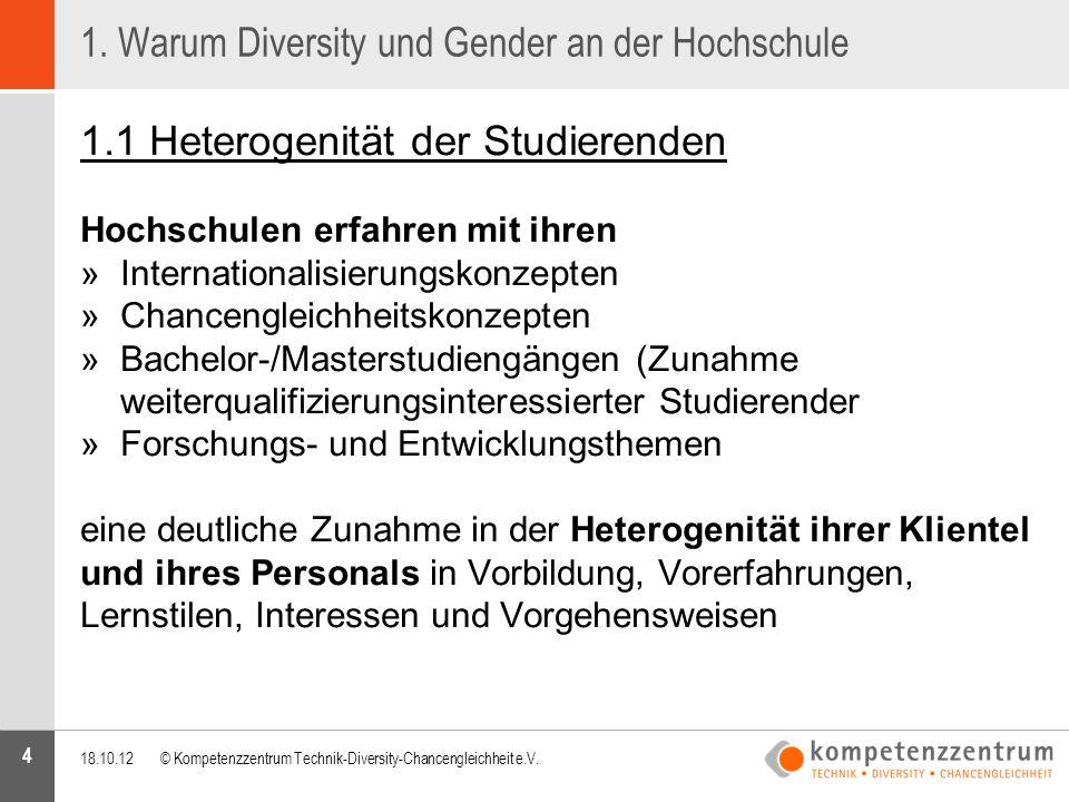 4 1. Warum Diversity und Gender an der Hochschule 1.1 Heterogenität der Studierenden Hochschulen erfahren mit ihren »Internationalisierungskonzepten »