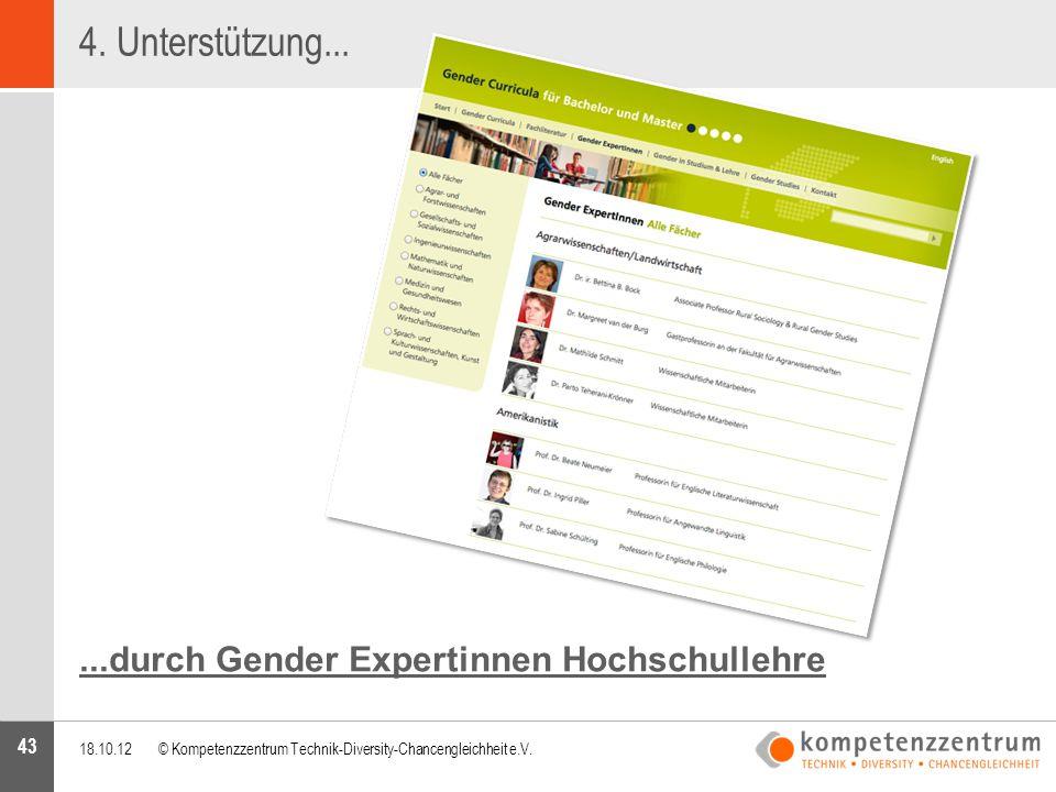 43...durch Gender Expertinnen Hochschullehre 18.10.12© Kompetenzzentrum Technik-Diversity-Chancengleichheit e.V. 4. Unterstützung...