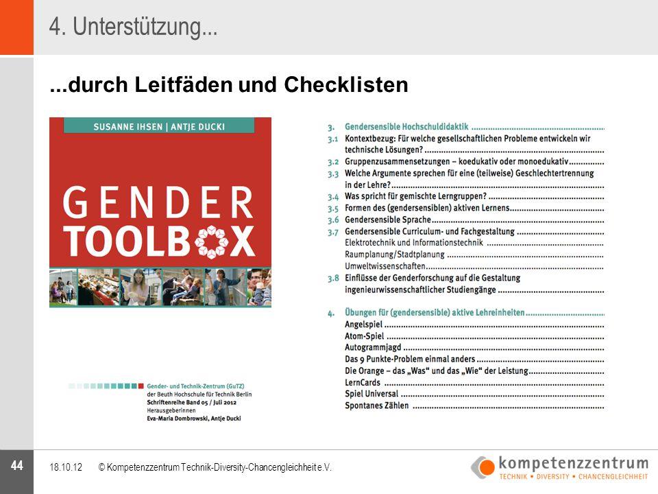 44 4. Unterstützung......durch Leitfäden und Checklisten 18.10.12© Kompetenzzentrum Technik-Diversity-Chancengleichheit e.V.