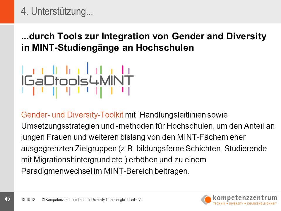 45 4. Unterstützung......durch Tools zur Integration von Gender and Diversity in MINT-Studiengänge an Hochschulen Gender- und Diversity-Toolkit mit Ha