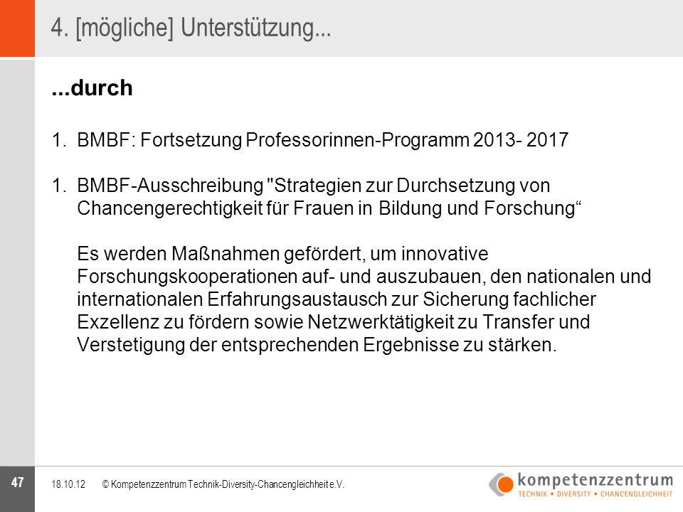 47 4. [mögliche] Unterstützung......durch 1.BMBF: Fortsetzung Professorinnen-Programm 2013- 2017 1.BMBF-Ausschreibung
