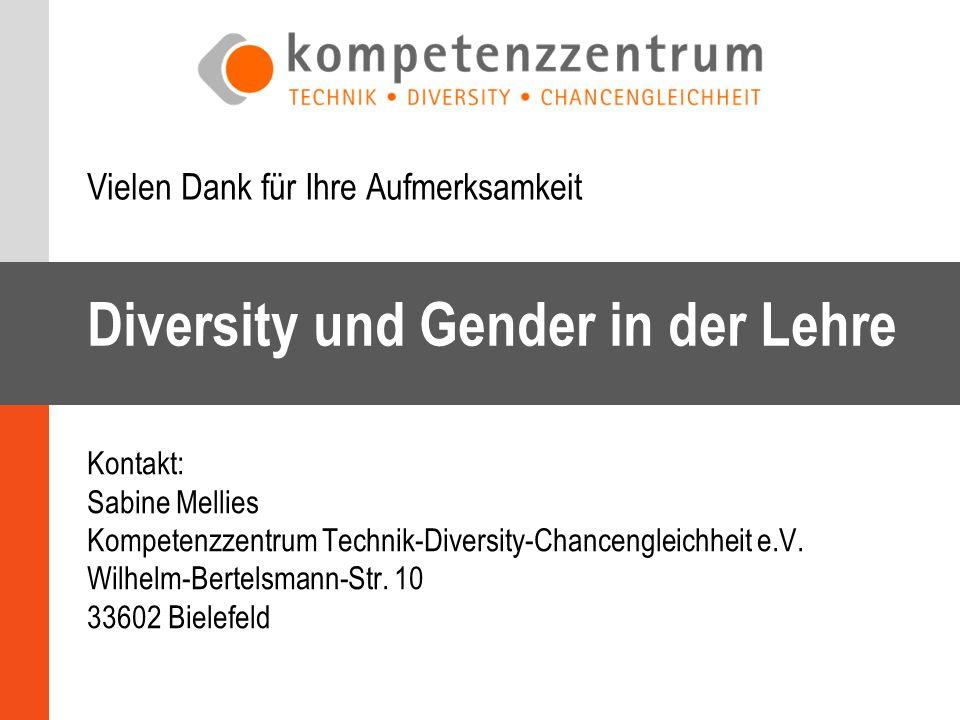 Diversity und Gender in der Lehre Vielen Dank für Ihre Aufmerksamkeit Kontakt: Sabine Mellies Kompetenzzentrum Technik-Diversity-Chancengleichheit e.V