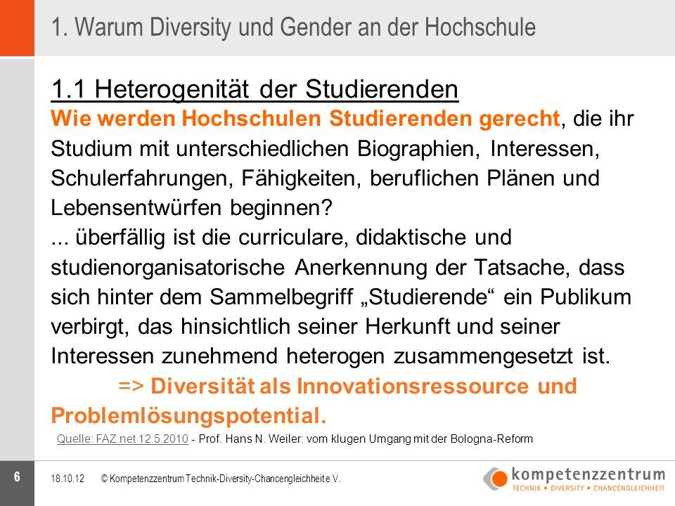6 1. Warum Diversity und Gender an der Hochschule 1.1 Heterogenität der Studierenden Wie werden Hochschulen Studierenden gerecht, die ihr Studium mit