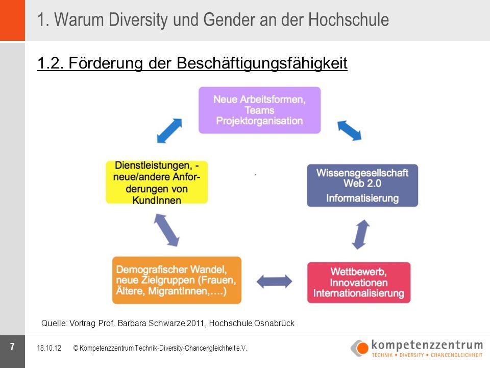 7 1. Warum Diversity und Gender an der Hochschule 1.2. Förderung der Beschäftigungsfähigkeit 18.10.12© Kompetenzzentrum Technik-Diversity-Chancengleic