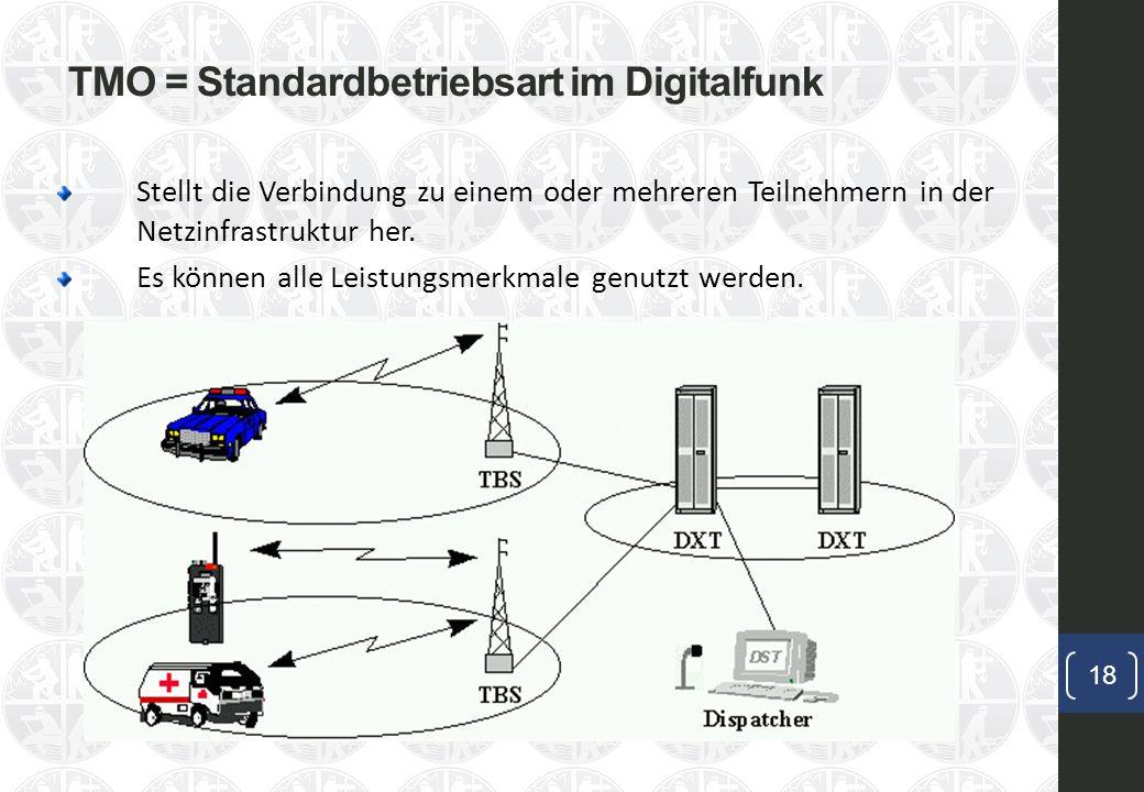 TMO = Standardbetriebsart im Digitalfunk 18 Stellt die Verbindung zu einem oder mehreren Teilnehmern in der Netzinfrastruktur her.