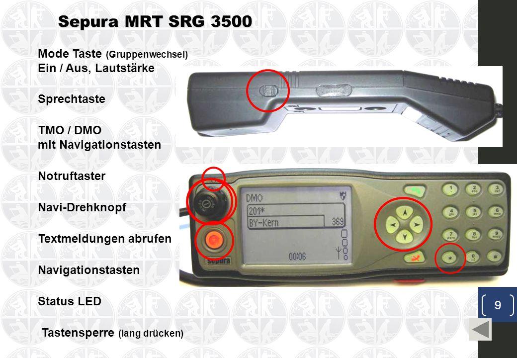 Sepura MRT SRG 3500 Mode Taste (Gruppenwechsel) Ein / Aus, Lautstärke Navi-Drehknopf Sprechtaste TMO / DMO mit Navigationstasten Notruftaster Textmeldungen abrufen Navigationstasten Status LED Tastensperre (lang drücken) 9