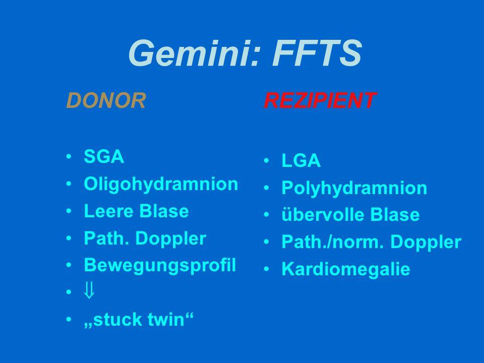 """Gemini: FFTS DONOR SGA Oligohydramnion Leere Blase Path. Doppler Bewegungsprofil  """"stuck twin"""" REZIPIENT LGA Polyhydramnion übervolle Blase Path./nor"""