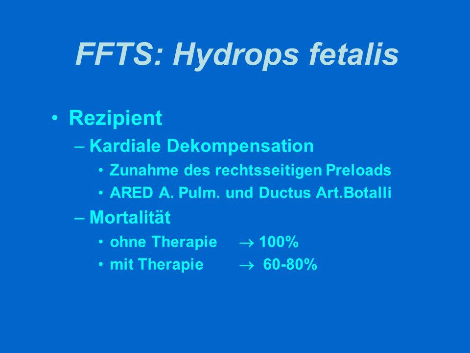FFTS: Hydrops fetalis Rezipient –Kardiale Dekompensation Zunahme des rechtsseitigen Preloads ARED A. Pulm. und Ductus Art.Botalli –Mortalität ohne The