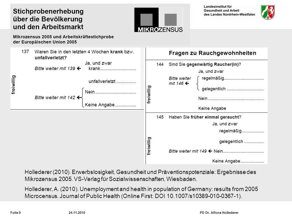 Folie 924.11.2010PD Dr.Alfons Hollederer Hollederer (2010).