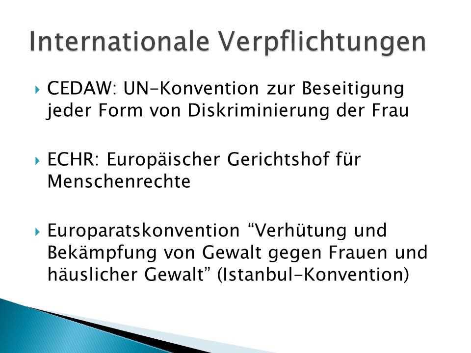  CEDAW: UN-Konvention zur Beseitigung jeder Form von Diskriminierung der Frau  ECHR: Europäischer Gerichtshof für Menschenrechte  Europaratskonvention Verhütung und Bekämpfung von Gewalt gegen Frauen und häuslicher Gewalt (Istanbul-Konvention)