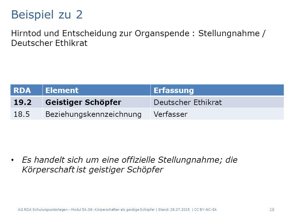 Beispiel zu 2 Hirntod und Entscheidung zur Organspende : Stellungnahme / Deutscher Ethikrat Es handelt sich um eine offizielle Stellungnahme; die Körperschaft ist geistiger Schöpfer AG RDA Schulungsunterlagen – Modul 5A.08: Körperschaften als geistige Schöpfer | Stand: 28.07.2015 | CC BY-NC-SA 28 RDAElementErfassung 19.2Geistiger SchöpferDeutscher Ethikrat 18.5BeziehungskennzeichnungVerfasser