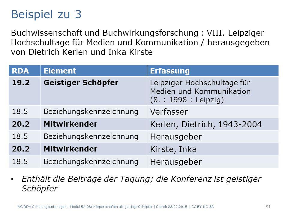 AG RDA Schulungsunterlagen – Modul 5A.08: Körperschaften als geistige Schöpfer | Stand: 28.07.2015 | CC BY-NC-SA 31 Beispiel zu 3 Buchwissenschaft und Buchwirkungsforschung : VIII.