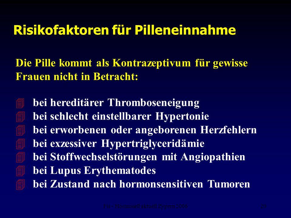 Fis - Hormonell aktuell Zypern 200620 Risikofaktoren für Pilleneinnahme Die Pille kommt als Kontrazeptivum für gewisse Frauen nicht in Betracht: 4 bei