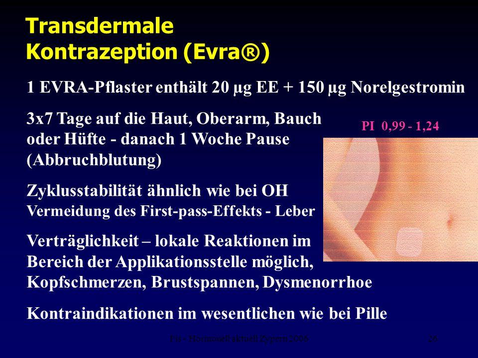 Fis - Hormonell aktuell Zypern 200626 Transdermale Kontrazeption (Evra®) 1 EVRA-Pflaster enthält 20 µg EE + 150 µg Norelgestromin 3x7 Tage auf die Hau
