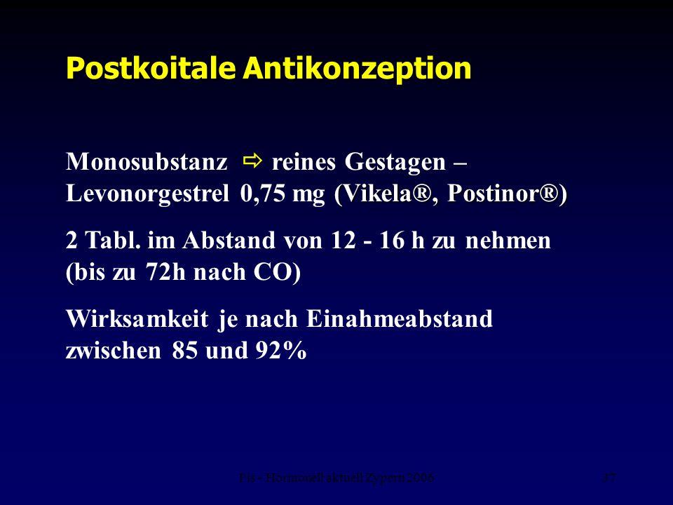 Fis - Hormonell aktuell Zypern 200637 (Vikela®, Postinor®) Monosubstanz  reines Gestagen – Levonorgestrel 0,75 mg (Vikela®, Postinor®) 2 Tabl. im Abs