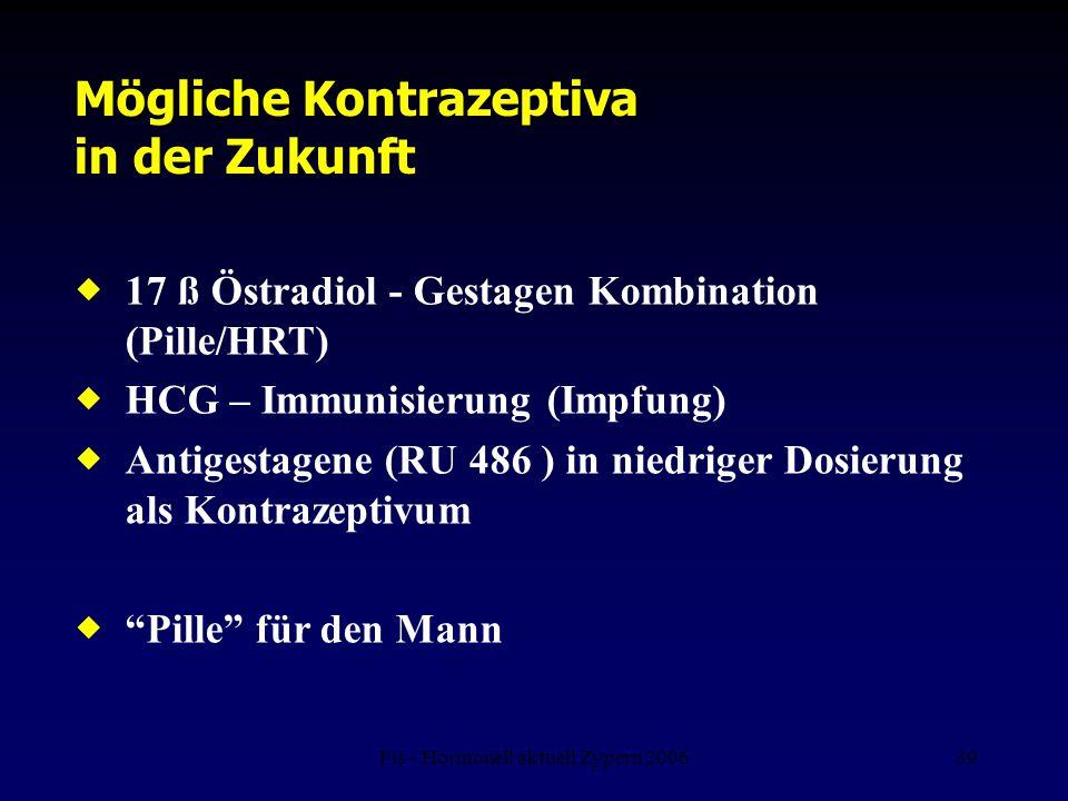 Fis - Hormonell aktuell Zypern 200639 Mögliche Kontrazeptiva in der Zukunft  17 ß Östradiol - Gestagen Kombination (Pille/HRT)  HCG – Immunisierung