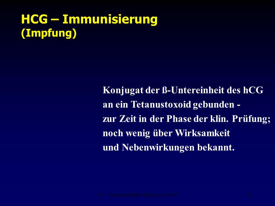 Fis - Hormonell aktuell Zypern 200640 HCG – Immunisierung (Impfung) Konjugat der ß-Untereinheit des hCG an ein Tetanustoxoid gebunden - zur Zeit in de