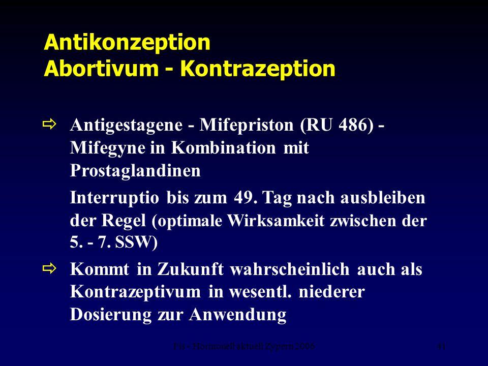Fis - Hormonell aktuell Zypern 200641 Antikonzeption Abortivum - Kontrazeption  Antigestagene - Mifepriston (RU 486) - Mifegyne in Kombination mit Pr
