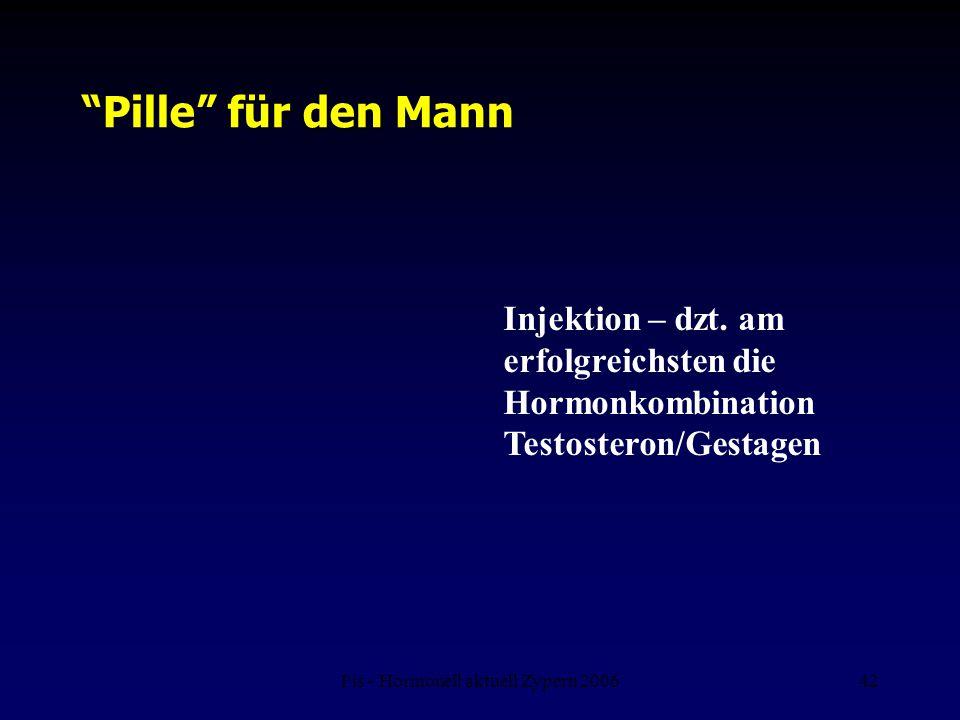 """Fis - Hormonell aktuell Zypern 200642 den """"Pille"""" für den Mann Injektion – dzt. am erfolgreichsten die Hormonkombination Testosteron/Gestagen"""