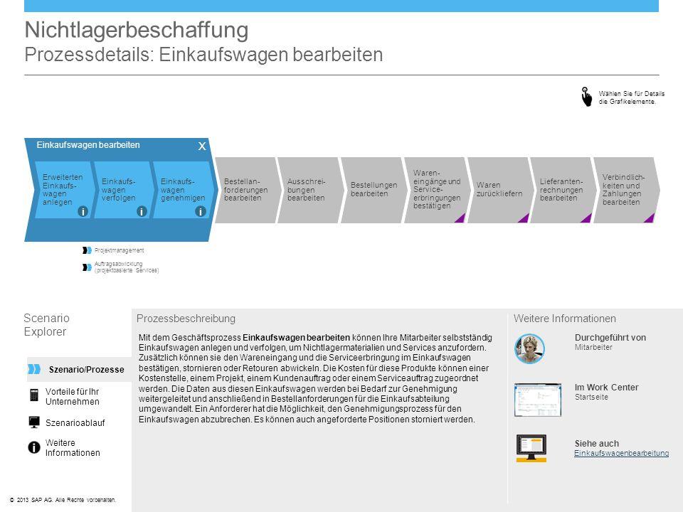 ©© 2013 SAP AG. Alle Rechte vorbehalten. Einkaufswagen bearbeiten Nichtlagerbeschaffung Prozessdetails: Einkaufswagen bearbeiten Scenario Explorer Pro