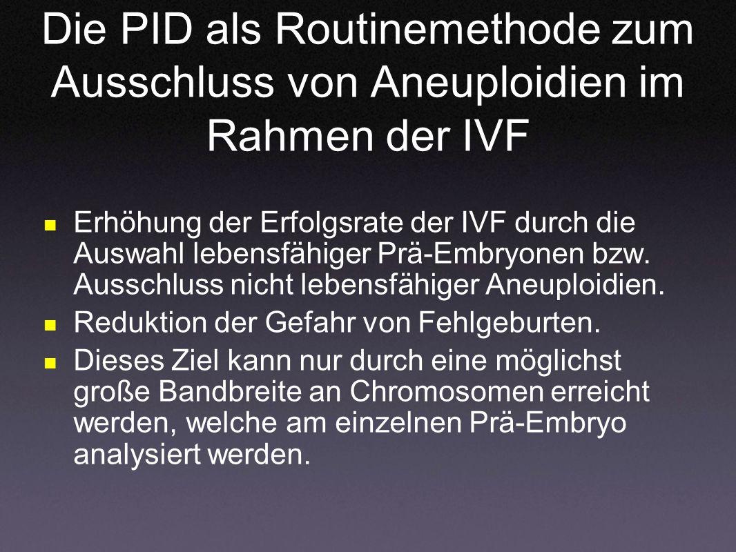 Die PID als Routinemethode zum Ausschluss von Aneuploidien im Rahmen der IVF Erhöhung der Erfolgsrate der IVF durch die Auswahl lebensfähiger Prä-Embr
