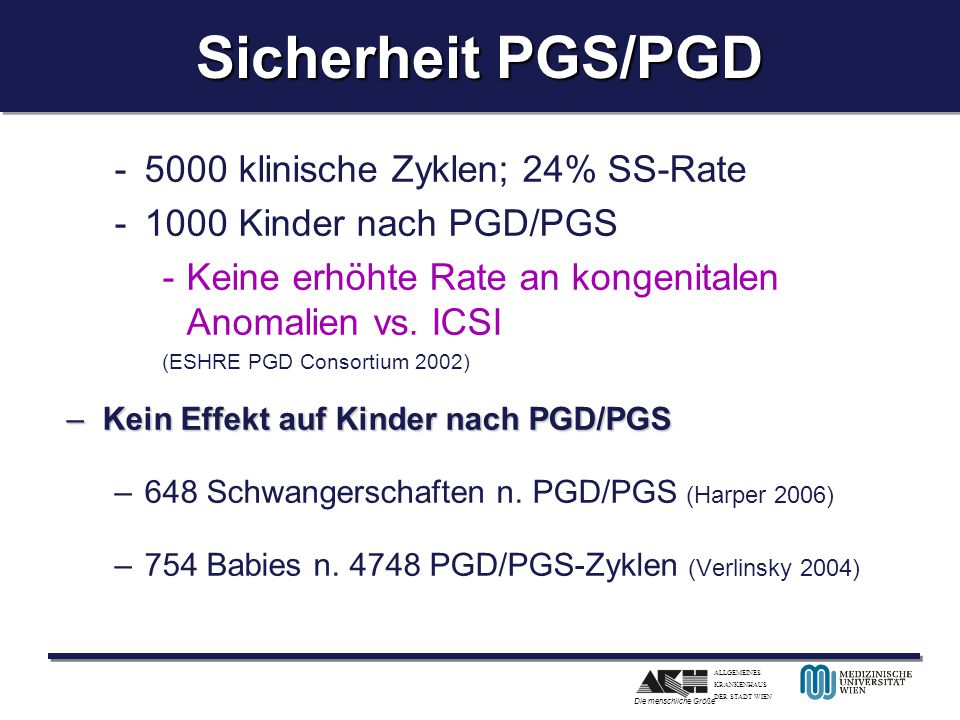 ALLGEMEINES KRANKENHAUS DER STADT WIEN Die menschliche Größe Sicherheit PGS/PGD -5000 klinische Zyklen; 24% SS-Rate -1000 Kinder nach PGD/PGS -Keine e