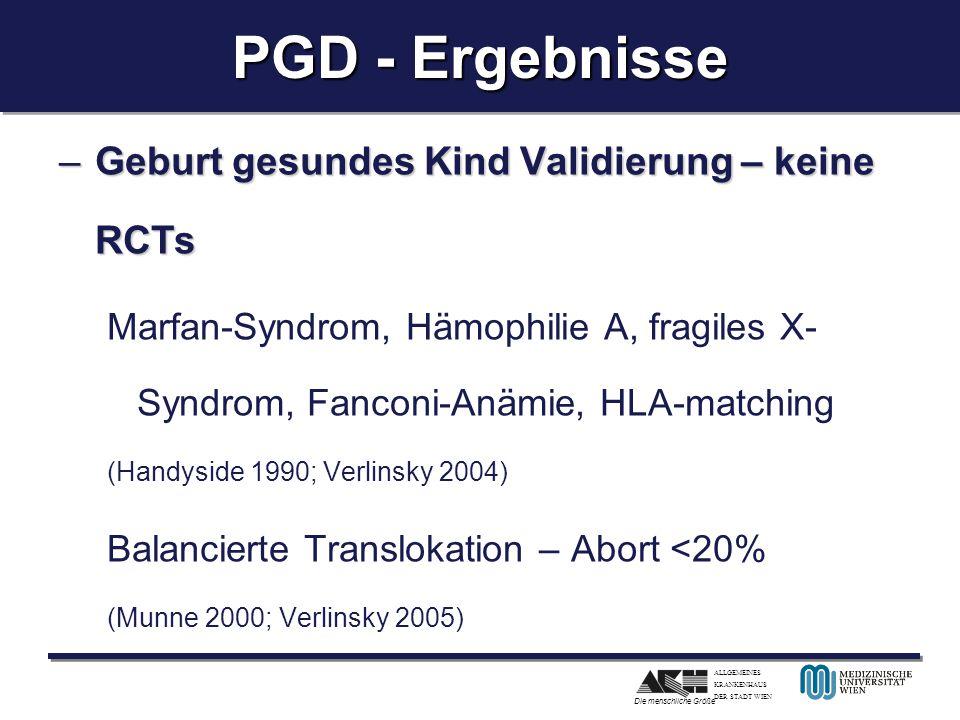 ALLGEMEINES KRANKENHAUS DER STADT WIEN Die menschliche Größe PGD - Ergebnisse –Geburt gesundes Kind Validierung – keine RCTs Marfan-Syndrom, Hämophili