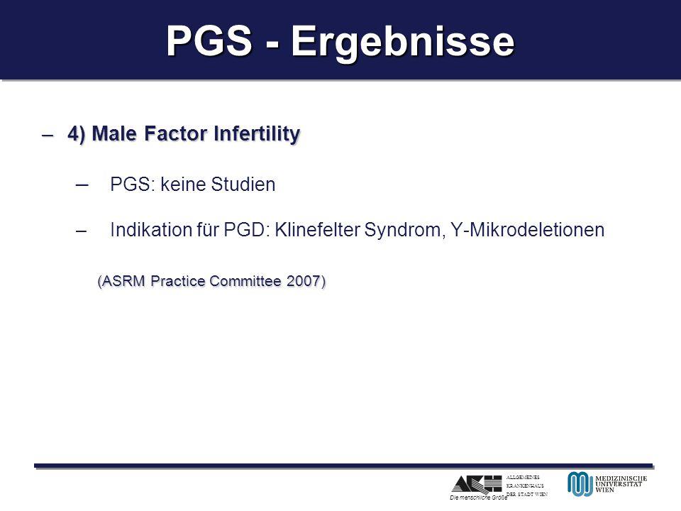 ALLGEMEINES KRANKENHAUS DER STADT WIEN Die menschliche Größe PGS - Ergebnisse –4) Male Factor Infertility – PGS: keine Studien –Indikation für PGD: Kl