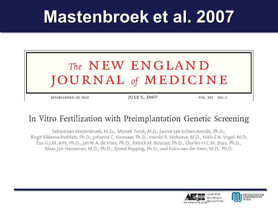 ALLGEMEINES KRANKENHAUS DER STADT WIEN Die menschliche Größe Mastenbroek et al. 2007