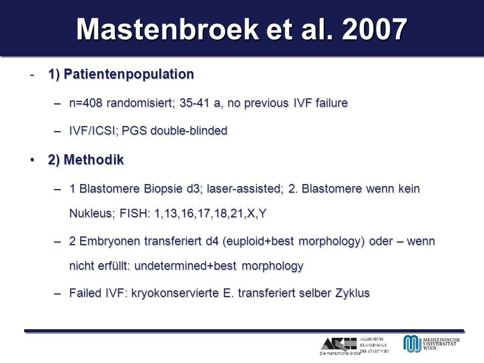 ALLGEMEINES KRANKENHAUS DER STADT WIEN Die menschliche Größe Mastenbroek et al. 2007 -1) Patientenpopulation –n=408 randomisiert; 35-41 a, no previous