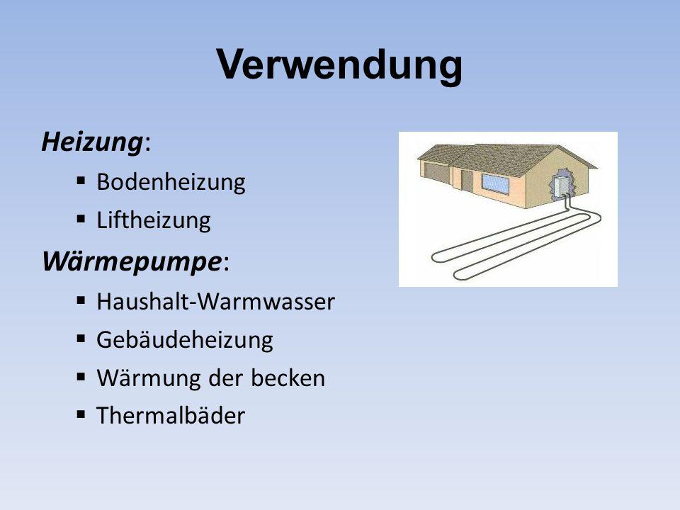 Verwendung Heizung:  Bodenheizung  Liftheizung Wärmepumpe:  Haushalt-Warmwasser  Gebäudeheizung  Wärmung der becken  Thermalbäder