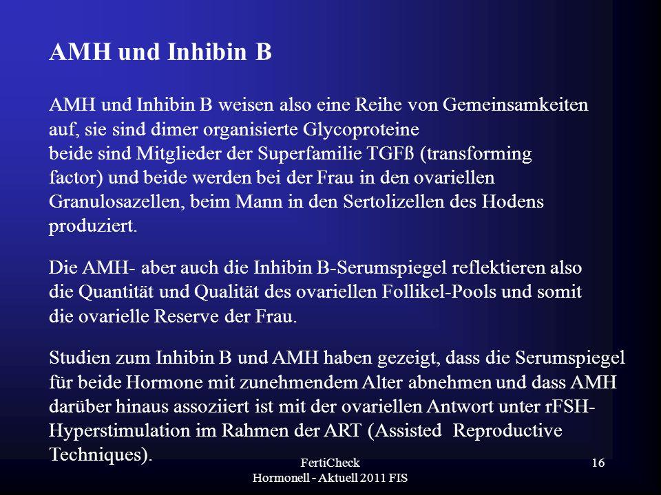 FertiCheck Hormonell - Aktuell 2011 FIS AMH und Inhibin B weisen also eine Reihe von Gemeinsamkeiten auf, sie sind dimer organisierte Glycoproteine be
