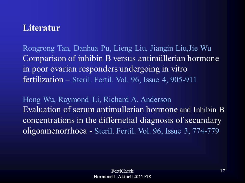 Literatur Rongrong Tan, Danhua Pu, Lieng Liu, Jiangin Liu,Jie Wu Comparison of inhibin B versus antimüllerian hormone in poor ovarian responders under