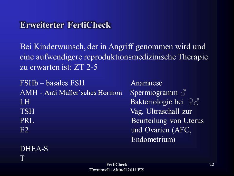 Bei Kinderwunsch, der in Angriff genommen wird und eine aufwendigere reproduktionsmedizinische Therapie zu erwarten ist: ZT 2-5 FSHb – basales FSH Ana