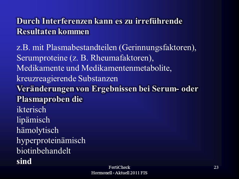 FertiCheck Hormonell - Aktuell 2011 FIS 23