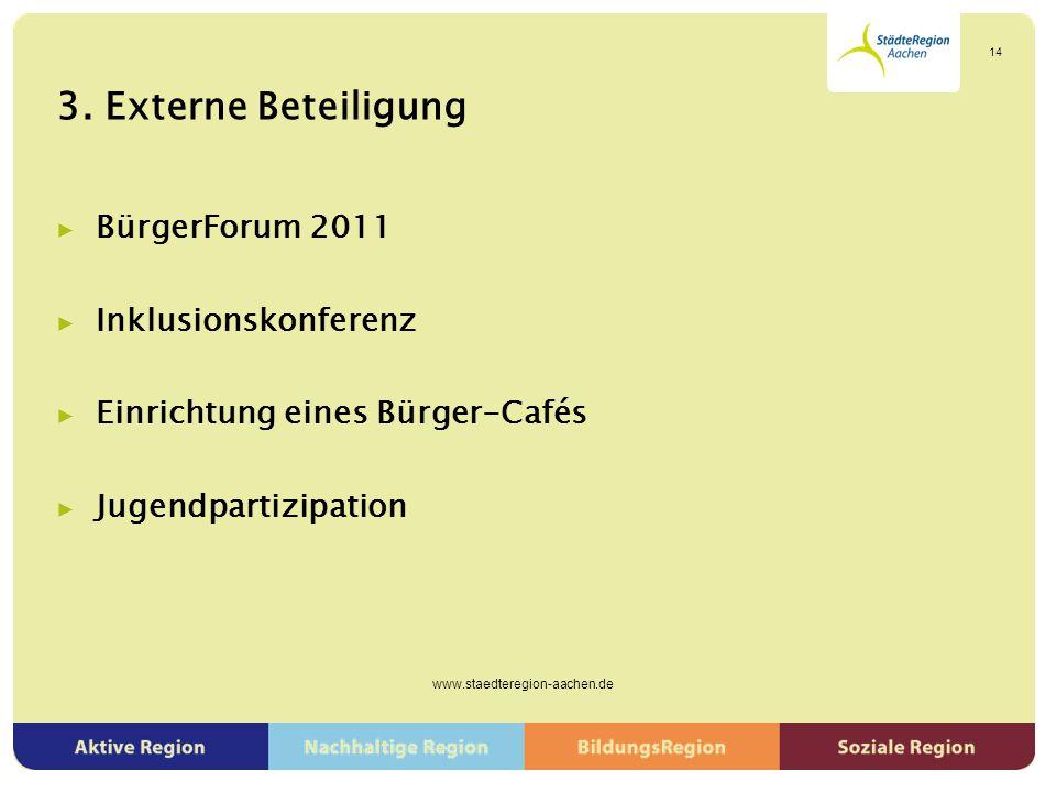 3. Externe Beteiligung ▶ BürgerForum 2011 ▶ Inklusionskonferenz ▶ Einrichtung eines Bürger-Cafés ▶ Jugendpartizipation www.staedteregion-aachen.de 14
