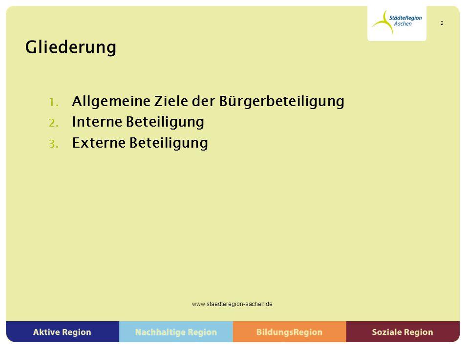 Jugendbeteiligung ▶ Modellkommunen als Vorbild für Jugendbeteiligung ▶ Strukturen für nachhaltige Einbindung von Jugendlichen ▶ Präsentation der Wünsche und Forderungen in Brüssel im November 2014 www.staedteregion-aachen.de 23
