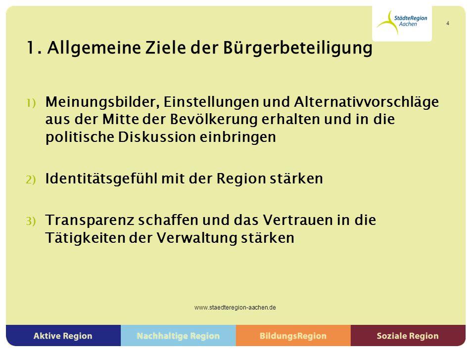 1. Allgemeine Ziele der Bürgerbeteiligung 1) Meinungsbilder, Einstellungen und Alternativvorschläge aus der Mitte der Bevölkerung erhalten und in die