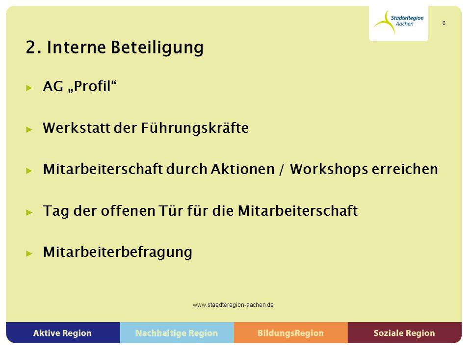 """2. Interne Beteiligung ▶ AG """"Profil"""" ▶ Werkstatt der Führungskräfte ▶ Mitarbeiterschaft durch Aktionen / Workshops erreichen ▶ Tag der offenen Tür für"""