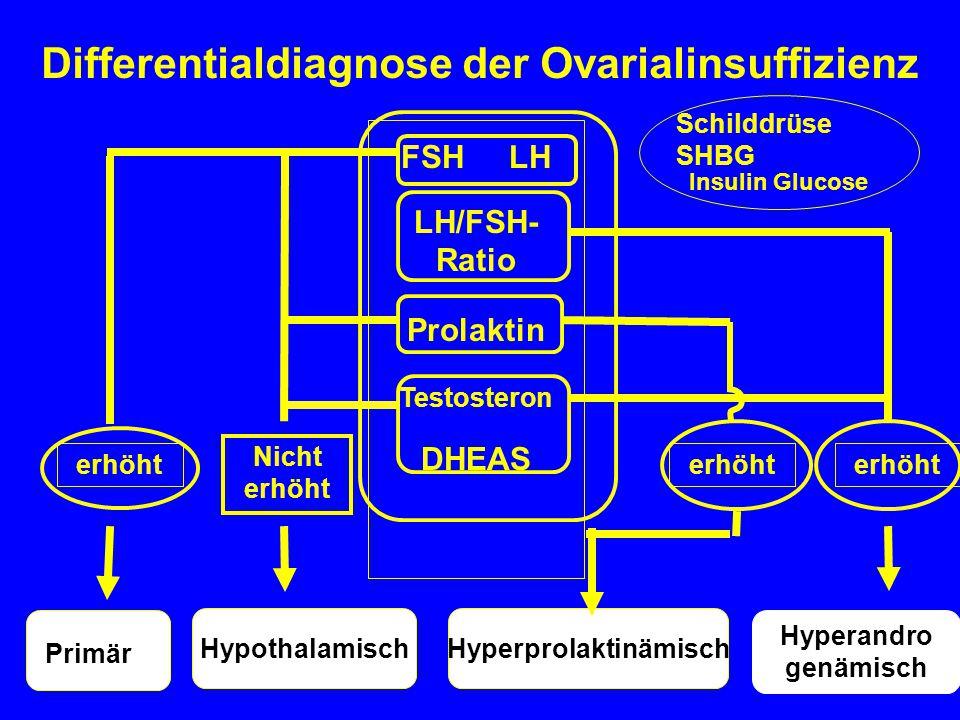 HyperprolaktinämischHypothalamisch Differentialdiagnose der Ovarialinsuffizienz FSH LH LH/FSH- Ratio Prolaktin Testosteron DHEAS erhöht Nicht erhöht P