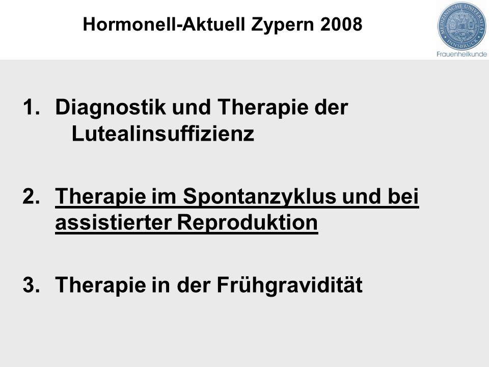 1.Diagnostik und Therapie der Lutealinsuffizienz 2.Therapie im Spontanzyklus und bei assistierter Reproduktion 3.Therapie in der Frühgravidität Hormon
