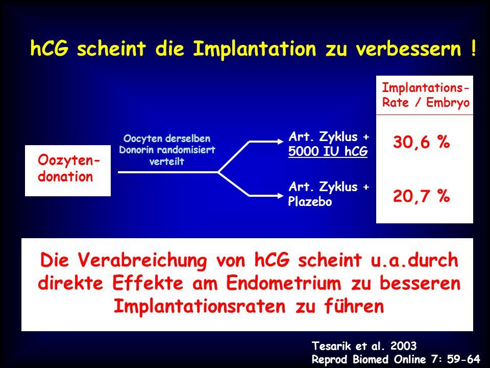 hCG scheint die Implantation zu verbessern .Tesarik et al.