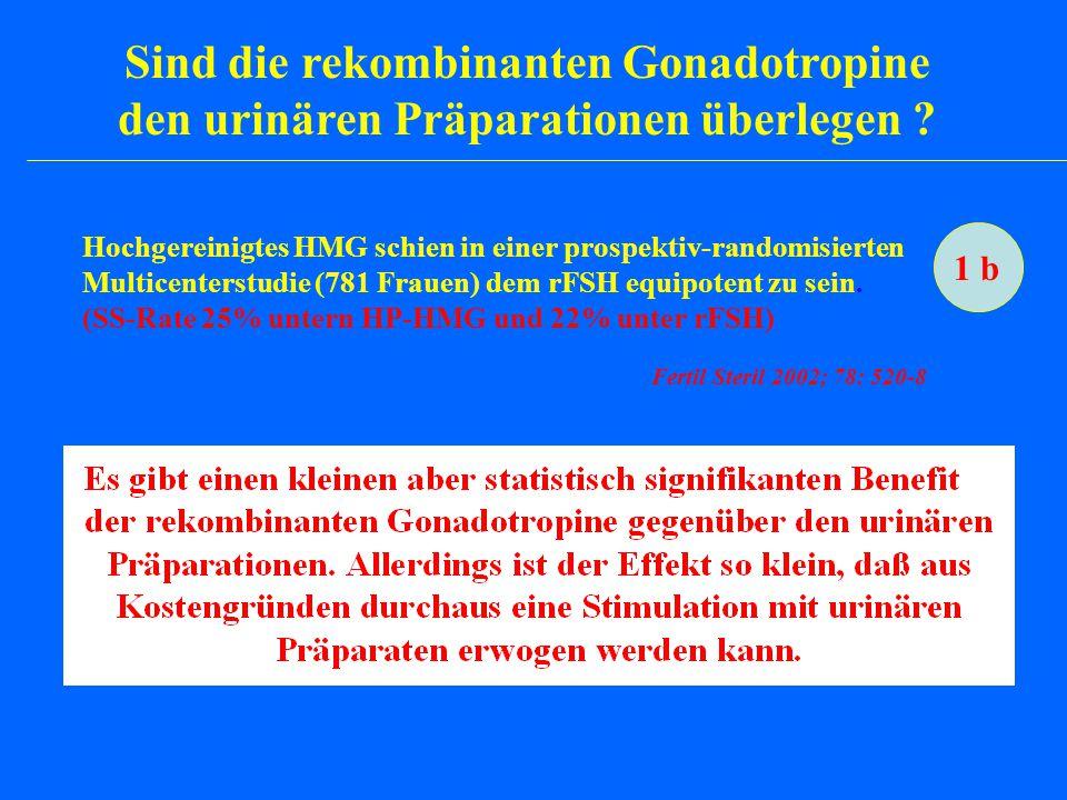 Sind die rekombinanten Gonadotropine den urinären Präparationen überlegen ? Hochgereinigtes HMG schien in einer prospektiv-randomisierten Multicenters
