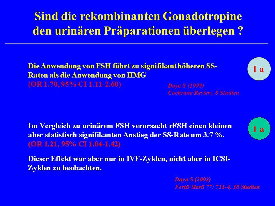 Sind die rekombinanten Gonadotropine den urinären Präparationen überlegen ? Die Anwendung von FSH führt zu signifikant höheren SS- Raten als die Anwen