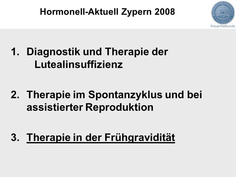 1.Diagnostik und Therapie der Lutealinsuffizienz 2.Therapie im Spontanzyklus und bei assistierter Reproduktion 3.Therapie in der Frühgravidität Hormonell-Aktuell Zypern 2008