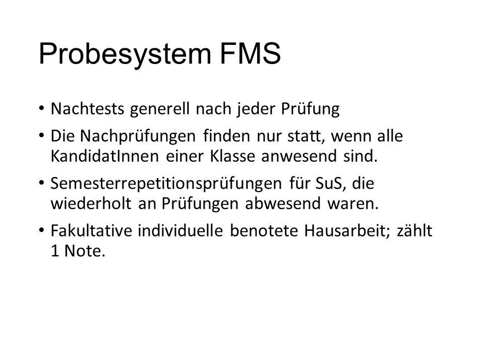 Probesystem FMS Nachtests generell nach jeder Prüfung Die Nachprüfungen finden nur statt, wenn alle KandidatInnen einer Klasse anwesend sind.